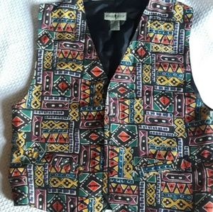 Robert Stock Silk Mens Vest Geometric print